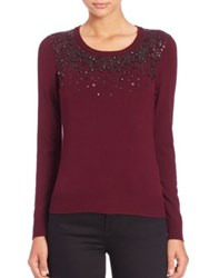Milly Sequin Cashmere Sweater Burgundy