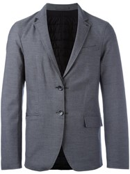 Emporio Armani Padded Single Breasted Blazer Grey