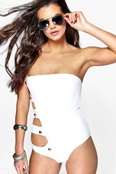 Boohoo Boutique Bandeau Strap Side One Piece White