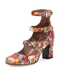 Tabitha Simmons Ginger Floral Print Three Strap Pump Multicolor
