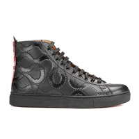 Vivienne Westwood Man Men's High Top Embossed Squiggle Leather Trainers Black