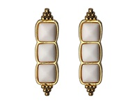 House Of Harlow Sugarloaf Bar Earrings Gold Tone White Agate Earring