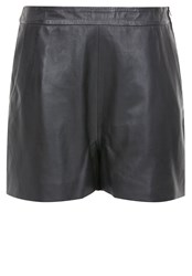 Hallhuber Leather High Waist Leather Shorts Black
