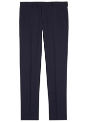 Oscar Jacobson Damien Navy Slim Leg Wool Trousers