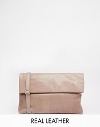 Oasis Poppy Leather Foldover Clutch Neutral