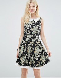 Yumi Collared Dress In Floral Print Black