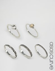 Asos Curve Etched Ring Stack Pack Mixed Metal Multi