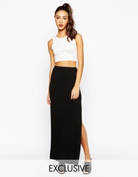 Daisy Street Column Jersey Maxi Skirt With Side Split Black