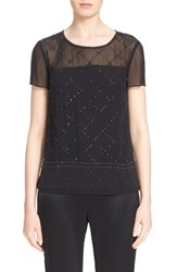Women's St. John Collection Sequin Embellished Silk Georgette Top