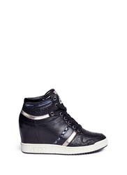 Ash 'Prince' Stud High Top Leather Wedge Sneakers Black