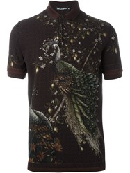 Dolce And Gabbana Peacock Print Polo Shirt Red