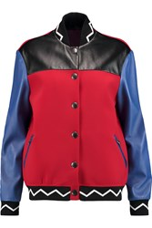 Etro Color Block Leather And Scuba Bomber Jacket Red