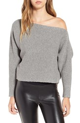 J.O.A. Women's Off The Shoulder Crop Sweater Heather Grey