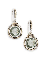 Effy Green Amethyst Sterling Silver And 18K Yellow Gold Drop Earrings