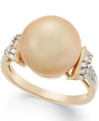 Macy's Cultured Golden South Sea Pearl 12Mm And Diamond 1 4 Ct. T.W. Ring In 14K Gold