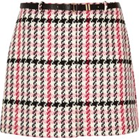 River Island Womens Ri Plus Pink Checked Belted Mini Skirt