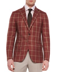 Ermenegildo Zegna Cashmere Silk Windowpane Jacket Rust Red Tan Size 47 48L