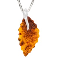 Be Jewelled Sterling Silver Cognac Amber Leaf Pendant Necklace Amber