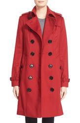 Burberry Women's London 'Sandringham' Long Slim Cashmere Trench Coat Parade Red