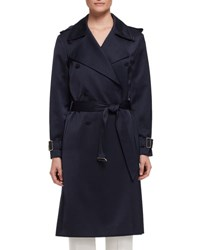 Lanvin Double Breasted Satin Trenchcoat Navy
