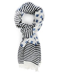 Hackett White Blue Striped And Checked Multi Pattern Scarf