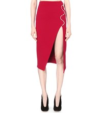 David Koma Curved Hardware Stretch Wool Skirt Red