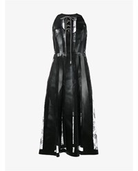 Christopher Kane Sleeveless Lace And Faux Leather Dress Black