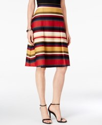 Ny Collection Petite Pleated Striped A Line Skirt Wine Catwalk