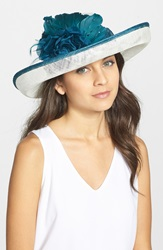 August Hat Romantic Profile Derby Hat Ivory Teal