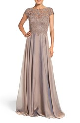 La Femme Women's Embellished Lace And Satin Ballgown Cocoa