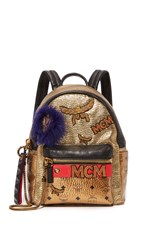 Mcm Insignia Backpack Gold Beige