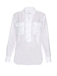 Equipment Knox Lace Up Linen Shirt White