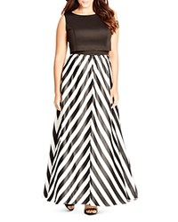 City Chic Chevron Stripe Maxi Dress Black