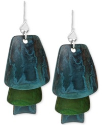 Robert Lee Morris Soho Silver Tone Layered Blue And Green Patina Earrings