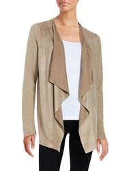 T Tahari Perforated Faux Suede Open Cardigan Beige