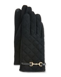 Portolano Wool Blend Quilted Gloves Black Blac
