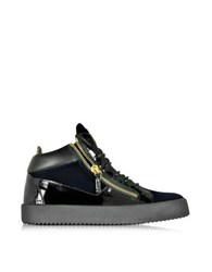 Giuseppe Zanotti Navy Velvet And Black Patent Leather High Top Sneaker Navy Blue