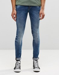 Pull And Bear Pullandbear Super Skinny Jeans In Mid Blue Blue