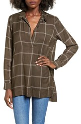 Lush Women's Plaid Tunic Olive Cream