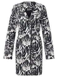 Adrianna Papell Floral Jacquard Coat Black White
