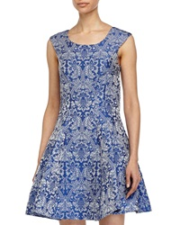 Betsey Johnson Baroque Print Fit And Flare Dress Light Blue