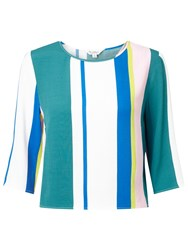 Miss Selfridge Stripe Wrap Back T Shirt Multi