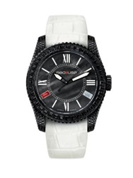 Red8usa Scandal Automatic Crystal Black Mother Of Pearl Black Pvd And Alligator Embossed Rubber Intercha White Black