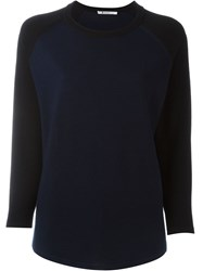 T By Alexander Wang Fine Knit Baseball Jumper Blue