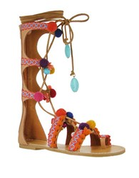 Mia Reanna Pom Pom Gladiator Sandals Natural