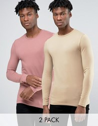 Asos Extreme Muscle Long Sleeve T Shirt With Crew Neck 2 Pack Tan Pink Multi