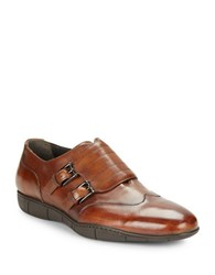 A. Testoni Double Monk Strap Shoes Antiqued Caramel