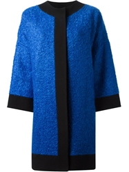 Fausto Puglisi Boucle Trimmed Coat Blue