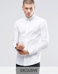 Only And Sons Skinny Shirt With Concealed Button Down Collar With Stretch White