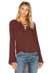 Bella Dahl Bell Sleeve Lace Up Top Brown